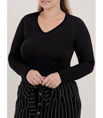 blusa manga longa plus size feminina - feminino