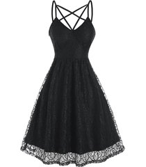 sleeveless strappy lace party dress