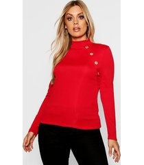 plus gold button rib high neck sweater, red