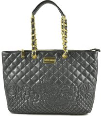 ermanno scervino black quilted eco leather tote bag