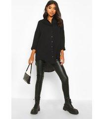 tall oversized linnen look blouse, black