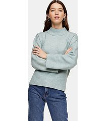 pale blue central seam knitted sweater - pale blue