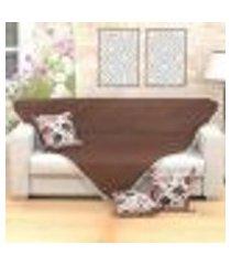 manta sofá lisa tabaco 1,50m x 1,50m + 3 almofadas decorativas 45cm x 45cm com refil