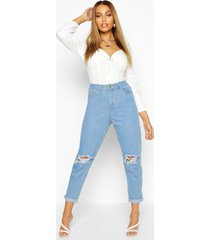 mid rise distressed boyfriend jeans, light blue