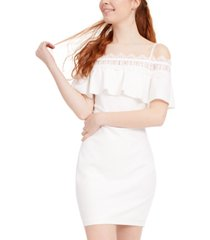 bcx juniors' crochet off-the-shoulder dress