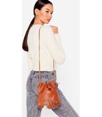 womens want fringe on it bucket crossbody bag - tan