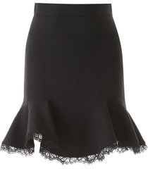 alexander mcqueen mini skirt with lace hem