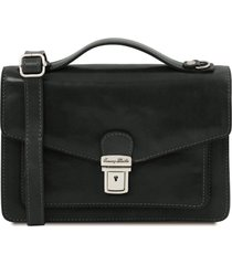 tuscany leather tl141443 eric - borsello in pelle a tracolla nero