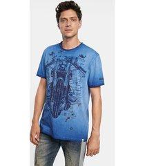 motorcycle t-shirt 100% cotton - blue - xxl