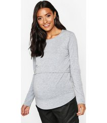 maternity long sleeve nursing top, light grey