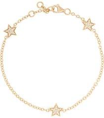 alinka 18kt yellow gold stasia mini triple star diamond bracelet -