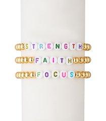 eye candy la women's strength faith focus 18k goldplated & alphabet bead bracelet