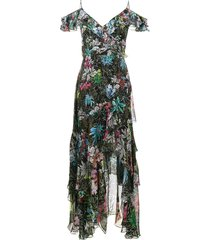 peter pilotto sleeveless ruffle floral print dress - black