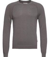 6202626, knit - sdluno o-neck organ stickad tröja m. rund krage grå solid