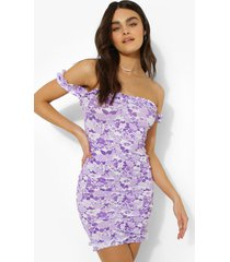 bloemenprint off shoulder mini jurk, purple