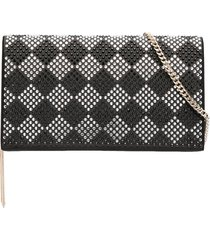 liu jo studded diamond check clutch - black
