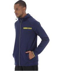 jaqueta com capuz puma tec sports hooded - masculina - azul escuro