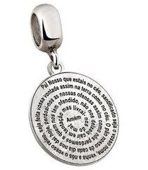 berloque de prata pai nosso moments