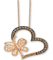 "le vian chocolatier chocolate diamond (1/4 ct. t.w.) & vanilla diamond (1/5 ct. t.w.) heart & butterfly 18"" pendant necklace in 14k rose gold"