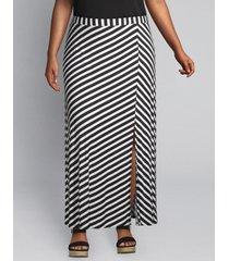 lane bryant women's slitted skirt 26/28 black & white stripe