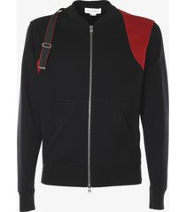 alexander mcqueen two-tone bomber jacket with strap detail