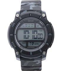 orologio multifunzione con cinturino in silicone grigio camouflage cassa in acciaio per uomo