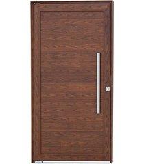porta social pivotante alumínio madeira alumifort 216x100x8cm abertura direita com lambris horizontais e puxador - sasazaki - sasazaki