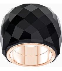 anello swarovski nirvana, nero, pvd tonalitã oro rosa