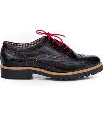 skórzane półbuty zapato 258 czerwony naplak