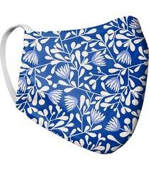 tapabocas mascara mujer doble capa estampado ramas tela antifluido - azul