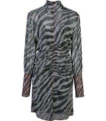 rag & bone zebra print mini dress - black