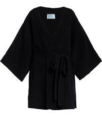 prada wraparound tie-waist cardigan - black