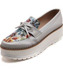 zapato plata flores moca salva