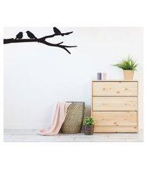 adesivo de parede pássaros no galho 60x22cm