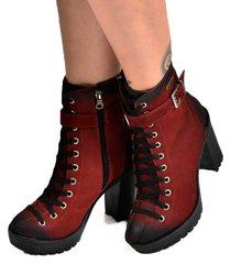 bota coturno cano mã©dio feminina com fivela em couro manchado galway 230nbk - vermelho - feminino - dafiti