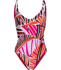 emilio pucci sal-print scoop-neck swimsuit - pink