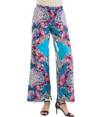 women's geometric floral palazzo pants