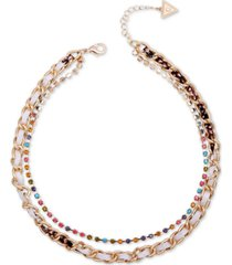 "guess gold-tone multicolor crystal & woven faux-python double-row collar necklace, 15"" + 2"" extender"
