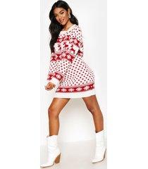 reindeers & snowflake christmas sweater dress, cream