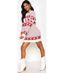 rendier en sneeuwvlokken kerst trui jurk, crème