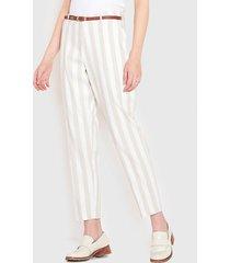 pantalón wados tiro alto listado crudo - calce regular