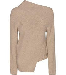 jil sander asymmetric side-slit knit sweater