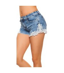 sexy hoge taille jeans shorts met kant jeansblauw