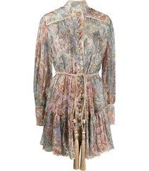 zimmermann lucky bound tassel-waist shirt dress - neutrals