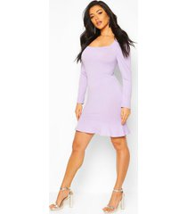 jumbo rib square neck frill hem skater dress, lilac