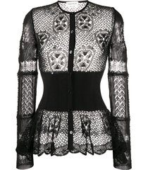 alexander mcqueen patchwork lace peplum cardigan - black