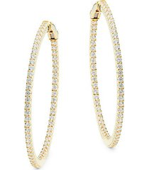 goldplated sterling silver & simulated diamond hoop earrings