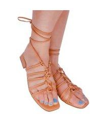 rasteira sandália feminina amarraçáo salto baixo gladiadora flat tranças moda lançamento nanda manu