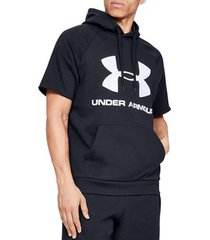 t-shirt korte mouw under armour rival fleece logo ss hoodie tee 1345624-001
