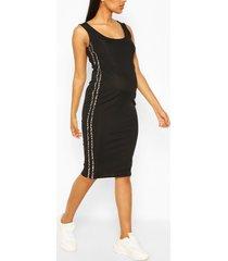 maternity leopard print side stripe midi dress, black